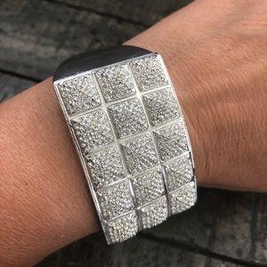Crystal silver cuff bracelet
